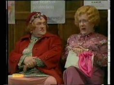 Cissy and Ada (Les Dawson and Roy Barraclough) at the doctor's waiting room ...