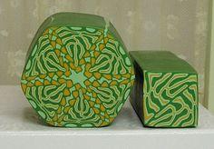 Polymer Clay Kaleidoscope Canes Green/Tan