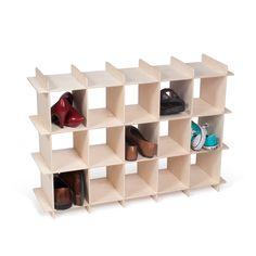 15 Cubby Shoe Shelf in Baltic Birch, on side, shoes in cubbies