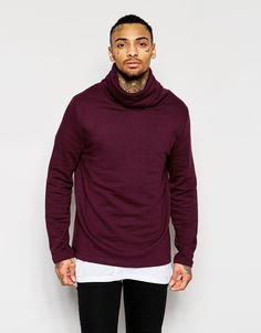 ASOS BRAND ASOS Funnel Neck Sweatshirt In Burgundy
