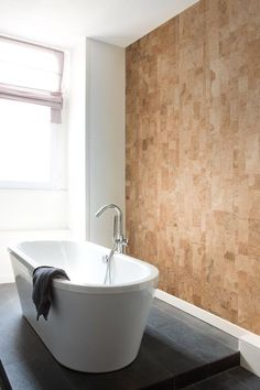 Flooring: Bathroom Cork Wall, another great texture to add warmth without overwhelming color.Cork Wall, another great texture to add warmth without overwhelming color. Home Trends, Accent Wall, Home, Bathroom Wall Decor, New Homes, Small Bathroom, Cork Wall, Trending Decor, Bathroom Design