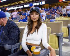 Emily Ratajkowski smooches boyfriend Jeff Magid at LA Dodgers game Baseball Cap Outfit, Baseball Game Outfits, Baseball Game Fashion, Dodgers Outfit, Dodgers Girl, Outfits With Hats, Cute Outfits, Game Day Outfits, Cap Outfits For Women