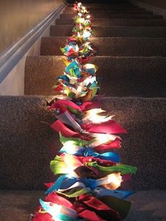light ribbon garland! Just tie ribbons onto a string of lights!
