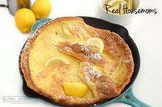 A Dutch Baby is a light, fluffy breakfast food similar to a popover. Served simply with powdered sugar and lemon wedges, fruit compote, or syrup.