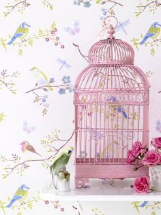 Would love to find old bird cages, spray paint pretty colors and decorate girls room with them