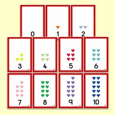 Coloured Hearts Number Shapes 0 to 10