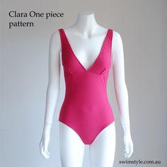 Clara One piece pattern  stitched in Cherry Red.