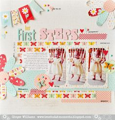 #papercrafting #scrapbook #layout Her First Steps - Scrapbook.com