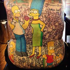 Cartoon Cast Tattoos - This Back Tattoo Features All 200 Characters from The Simpsons (GALLERY)