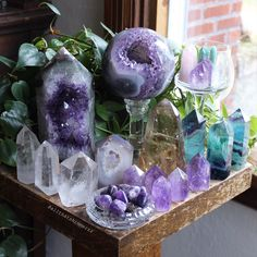 Everything shown here is available (except the large amethyst geode tower-it found a home!), tap this photo for easy shopping 💜. I'm hoping… Amethyst Geode, Quartz Crystal, Crystals And Gemstones, Stones And Crystals, Healing Stones, Crystal Healing, Pictures Of Crystals, Witch Aesthetic, Crystal Collection