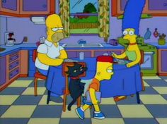 Marge: Have you noticed any change in Bart?  Homer: New glasses?  Marge: No, he looks like something might be disturbing him.  Homer: He probably misses his old glasses.