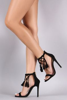 Braided Ankle Strap Tassel Open Toe Stiletto Heel