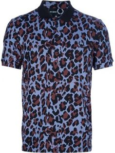 b8d3ea12128 Raf Simons - Blue Leopard Print Polo Shirt for Men - Lyst