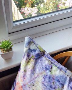 Floral cushion - purple cushion - abstract pillow Sarah Blythe Instagram www.sarahblythe.com