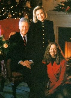President William Jefferson (Bill) Clinton, wife Hillary and daughter Chelsea