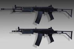 SADF R4 (top) and R5 Assault Rifles.