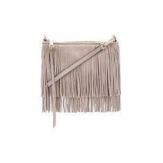 Rebecca Minkoff Suede Finn Crossbody Bag ($200) ❤ liked on Polyvore featuring bags, handbags, shoulder bags, brown crossbody, hand bags, brown fringe purse, crossbody shoulder bags and suede fringe purse