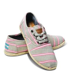 Look at this Pink Washed Stripe Rope Cordones by TOMS Lace Up Shoes, New Shoes, Me Too Shoes, Comfy Shoes, Casual Shoes, Shoes Style, Lace Toms, Hipster Shoes, Toms Classic