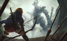 Shadow of the Colossus by Koyorin on DeviantArt Banner Saga, Shadow Of The Colossus, Bioshock, God Of War, Skyrim, Digital Art, Fantasy, Gallery, Video Game