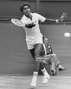 Indian tennis player Vijay Amritraj competing against the defending champion, Bjorn Borg of Sweden, in their second round match in the Men's Singles at the Wimbledon Championships, London, 26th June 1979. Borg won the match 2-6, 6-4, 4-6, 7-6, 6-2.