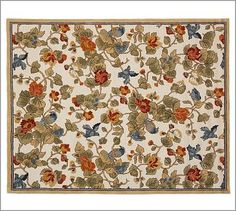 Bird Floral Rug #potterybarn  I have been looking at this all the colors of the cornice boards, bird theme carried thru on the rug..just not sure