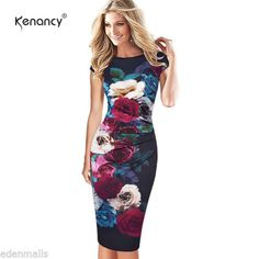 Women Floral Ruched Pencil Dress Cooktail Work Fitted Stretch Slim Sheath Dress