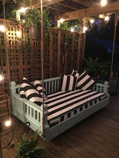 "Backyard Ideas Discover Twin size New Orleans Step Down "" Ridgidbuilt custom daybed swing Feel free to text or call with questions Backyard Seating, Backyard Patio Designs, Cozy Backyard, Backyard Hammock, Diy Backyard Projects, Backyard Porch Ideas, Romantic Backyard, Pergola Designs, Hammocks"