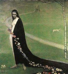 Romaine Brooks (American painter 1874-1970) - Femme avec des Fleurs (The Woman with Flowers, aka Spring), 1912 oil on canvas collection Lucile Audouy, Paris, France