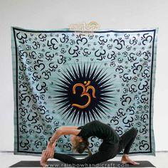 Om aum mandala tapestry hippie wall hanging bohemian throw queen dorm decor art #Rainbowhandicraft #ArtDecoStyle
