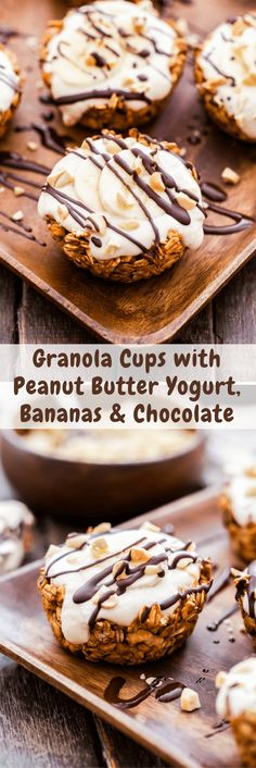 Granola Cups with Peanut Butter Yogurt, Bananas and Chocolate are a fun twist on the classic breakfast parfait. Creamy peanut butter Greek yogurt filling topped with banana slices, dark chocolate drizzle and chopped peanuts is perfect for your next breakfast or brunch!