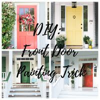 DIY: Front Door Painting Trick. The best tips and trick for painting french doors or doors with windows. #diy #painting #howto