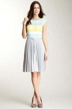 Donna Morgan pleated colorblock in mint-platinum-sunset-chalk. Even the choice of color description is nice.