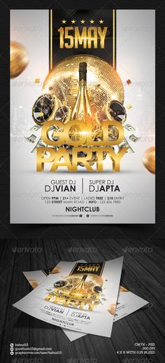 Gold Party Flyer Template. Download here : http://graphicriver.net/item/gold-party-flyer-template/4563691 #gold #party #photoshop