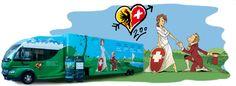 Le bus exposition de Genève à la rencontre des Suisses par Zep Bus, Activities, Dating, Radiation Exposure