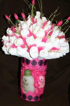 Diaper Flower Arrangement (Instead of a Diaper Cake)