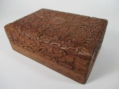 Vintage Wooden Trinket Box Floral Carved Wood Box Small Memory Box Hinged Box Handcrafted Velvet Lined Box Collectible Wooden Storage Box by BeehiveBoutiques on Etsy