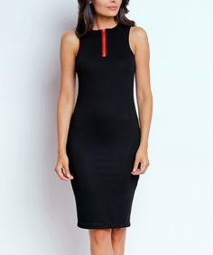 Another great find on #zulily! Black Zip-Front Sheath Dress by NAOKO #zulilyfinds