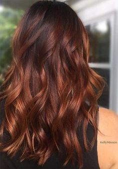 Badass Red Hair Colors: Auburn, Cherry, Copper, Burgundy Hair Shades, copper hair color for auburn ombre brown amber balayage and blonde hairstyles Hair Color Auburn, Hair Color For Black Hair, Cool Hair Color, Deep Auburn Hair, Auburn Brown, Dark Hair With Red, Auburn Colors, Light Auburn, Indian Skin Hair Color