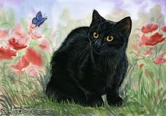 BLACK CAT THE BLUE BUTTERFLY PRINT PAINTING ANNE MARSH