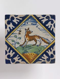 Tile depicting fox.  tin-glaze earthenware painted in colours, Netherlands, ca. 1620-40