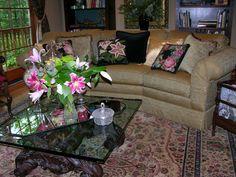 Stargazer lilies from the garden meet the Elizabeth Bradley stargazer lily cushion.