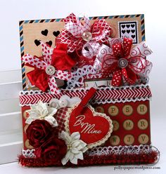 Valentine Pocket with Tags Retro Holiday Polly's by PollysPaper