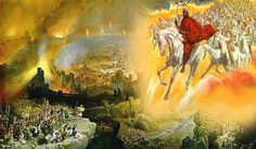 """Jesus Returns with His Army on White Horses. BIBLE SCRIPTURE: Revelation """"And I saw heaven opened, and behold a white horse; and he that sat upon him was called Faithful and True, and in righteousness he doth judge and make war. He Is Coming, Jesus Is Coming, Arte Judaica, Revelation 19, Early Christian, Christian Metal, Christian Art, Christian Quotes, The Son Of Man"""