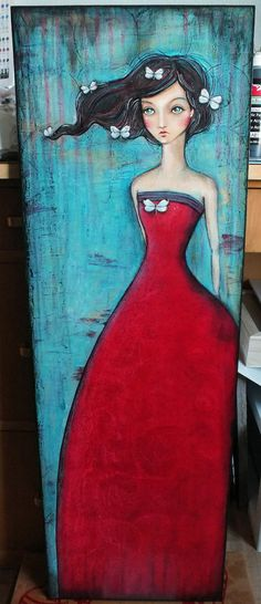 "OOAK Original Folk Art Woman ""Red Dress"" acrylic colored pencil A. Kennedy RED Aqua butterfly polkadots"