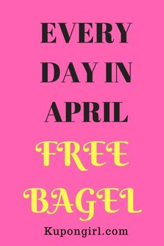 Today, I am sharing with all of you a FREE Offer! Every Day In April = FREE Bagel! Yes, you heard that right! A FREE Bagel! Cha-Ching! Savings! Helping you to save money! :) Get the Scoop Here!   **What is your favorite bagel flavor?** I would love to hear your replies!