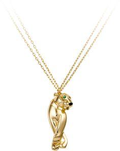 Panthère de Cartier necklace Yellow gold, onyx, tsavorite garnet