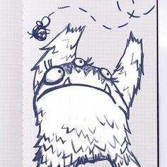Monster catching bee... Concept art for indie game Escape Doodland. #art #illustration #sketch #sketchbook #doodle #doodleart #funny #game #indiegame #monster #gamedev #beer