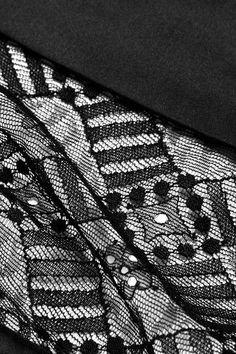 Eres - Mystery Silk-blend Satin-trimmed Leavers Lace Briefs - Black - FR