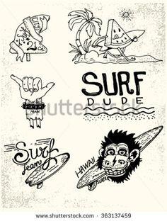 Illustrations On Surf Labels Badges Design Stock Vector (Royalty Free) 363137459 Vintage Tiki, Vintage Surf, Badge Design, Logo Design, Surf Tattoo, Aesthetic Shirts, Surf Design, Bizarre Art, La Art
