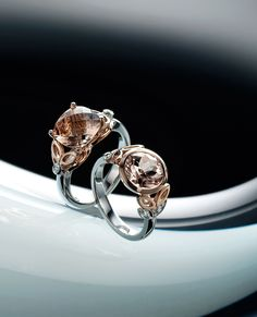 two 14k white and red gold morganite and diamond rings